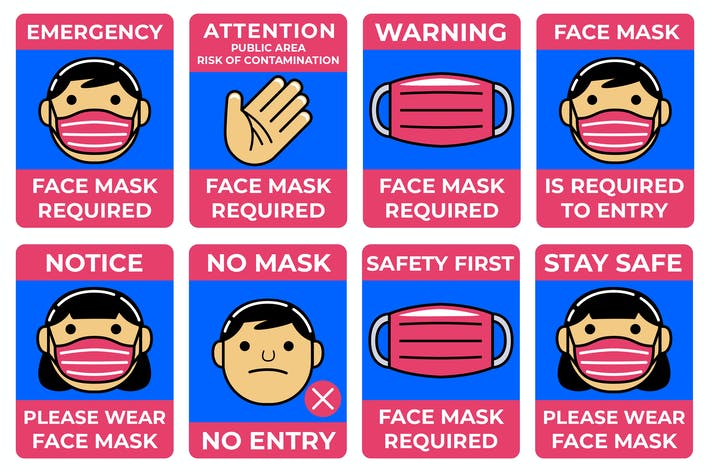 Thumbnail for Face Mask Required Sign Pack