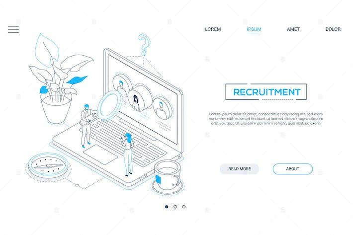 Thumbnail for Recruitment - line design style isometric banner
