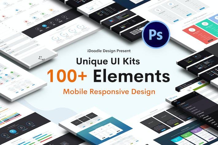 Thumbnail for UI Наборы дизайн сайта и мобильный отзывчивый