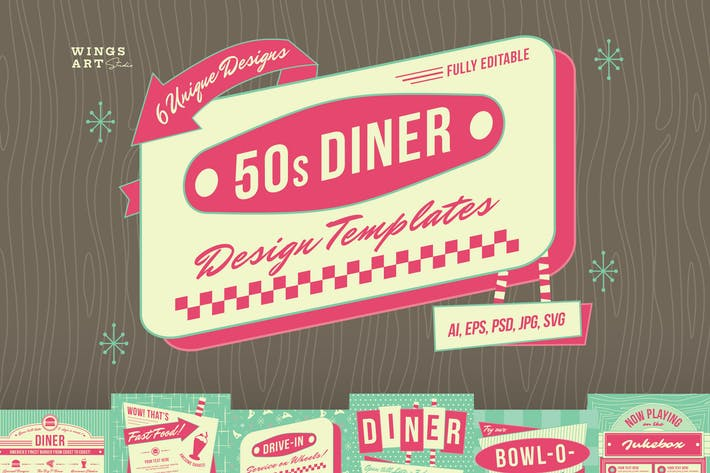 Thumbnail for 1950s Retro Diner Menu Graphics