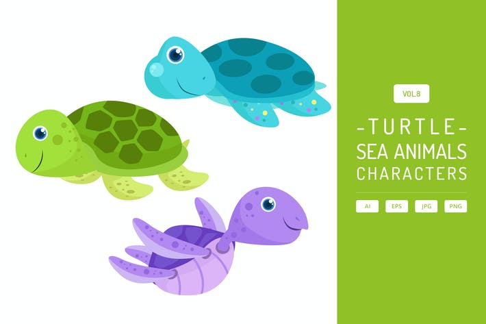Thumbnail for Cute Sea Turtle - Sea Animals Characters Vol.8