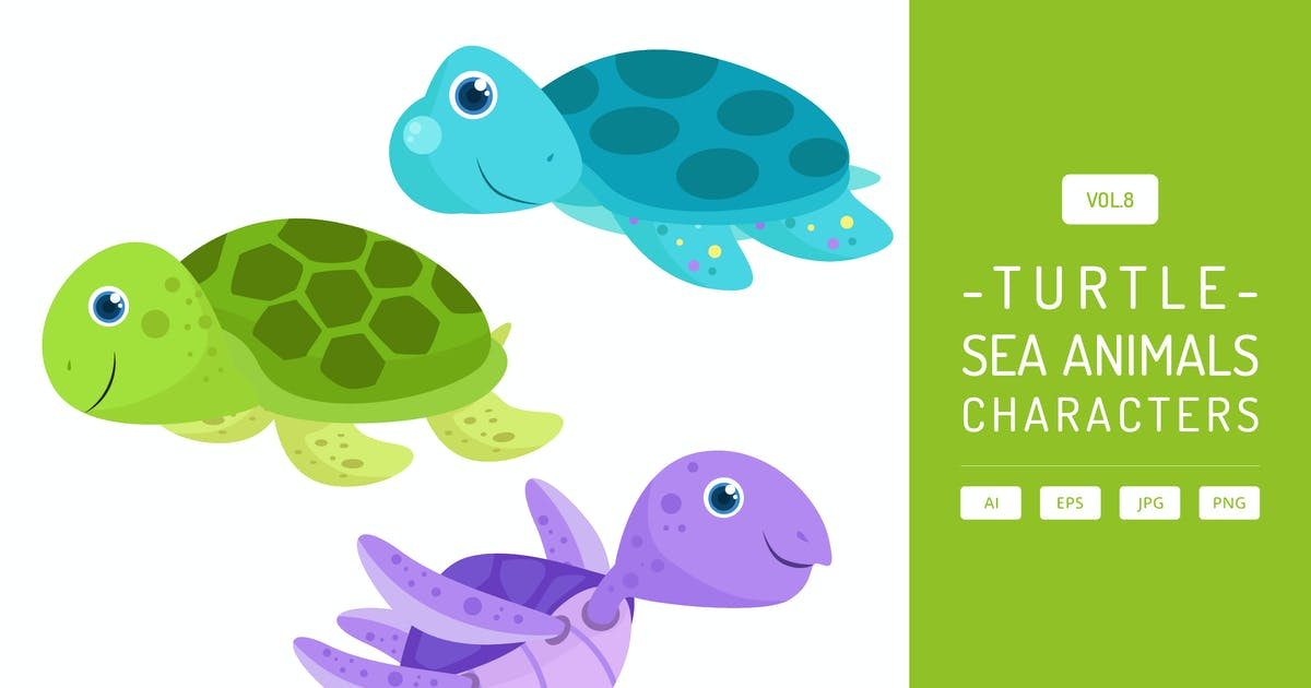 Download Cute Sea Turtle - Sea Animals Characters Vol.8 by Graphiqa