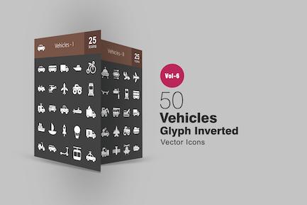 50 Fahrzeuge Glyph Inverted Icons