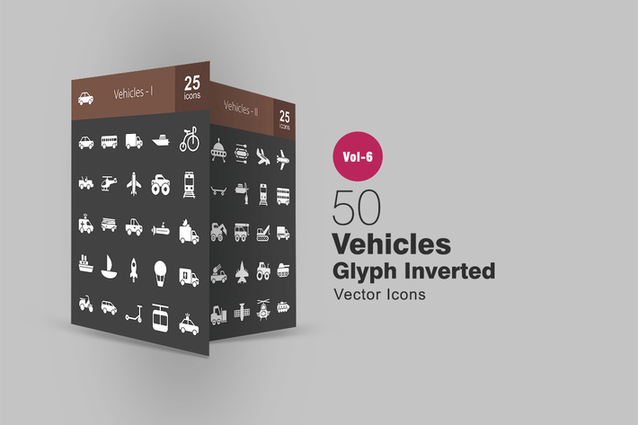 Thumbnail for 50 Vehicles Glyph Inverted Icons