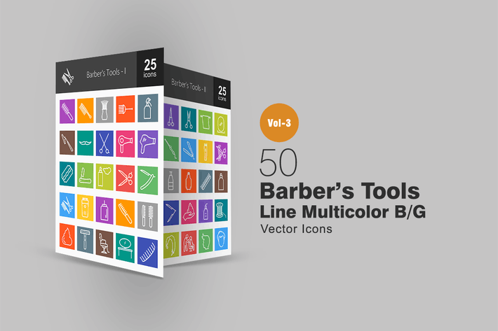 50 Barber's Tools Line Multicolor Icons