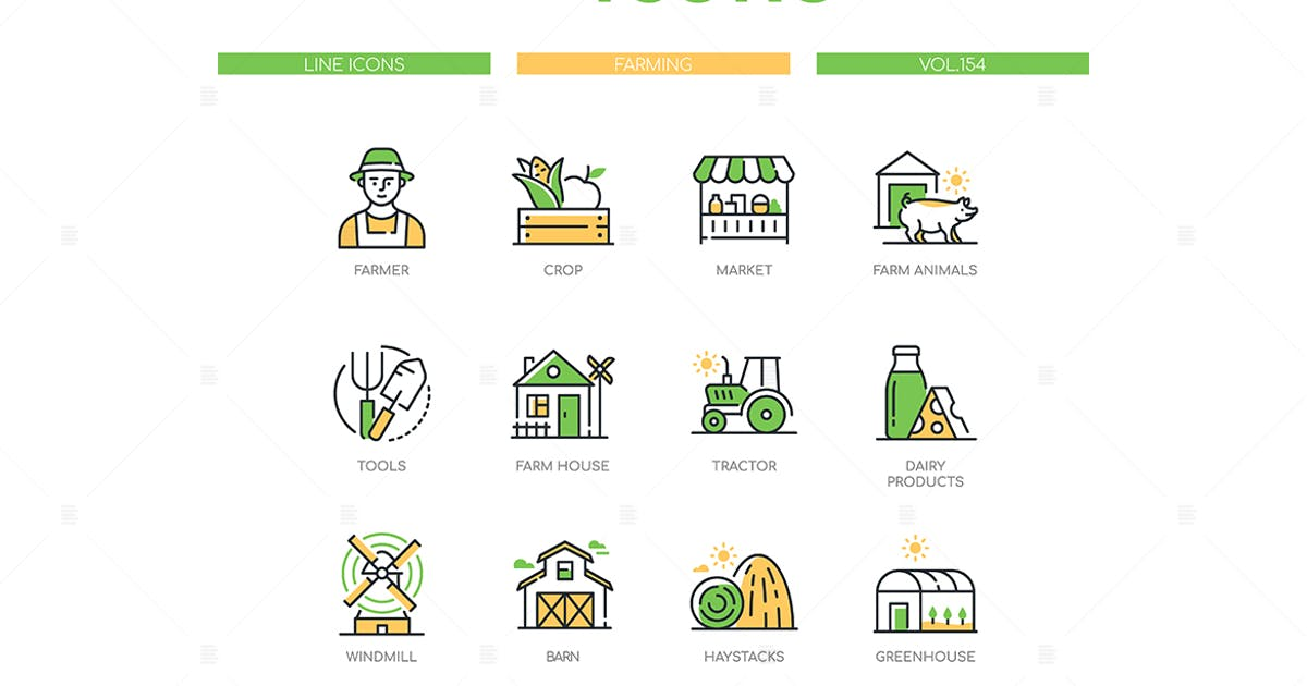 Download Farming - Modern Line Design Style Icons Set by BoykoPictures