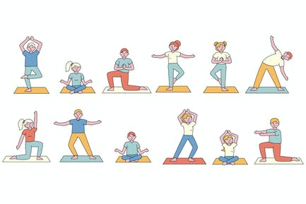 Yoga Lineart People Character Collection
