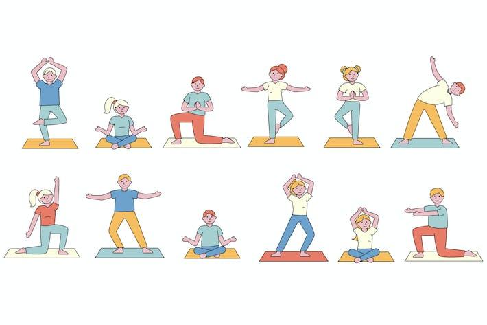 Yoga Lineart People Character Sammlung