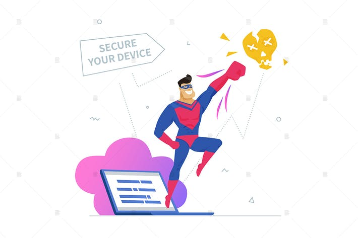 Thumbnail for Antivirus software flat design style illustration