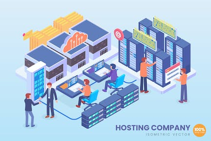 Isometric Hosting Company Vector Concept
