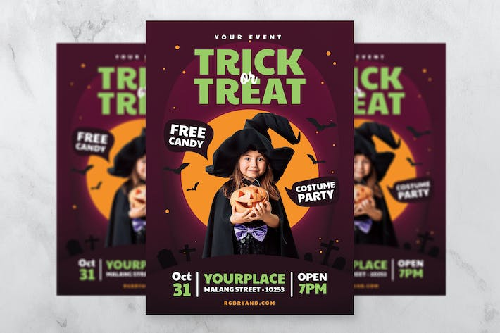 Thumbnail for Halloween Kids Party Fllyer Template