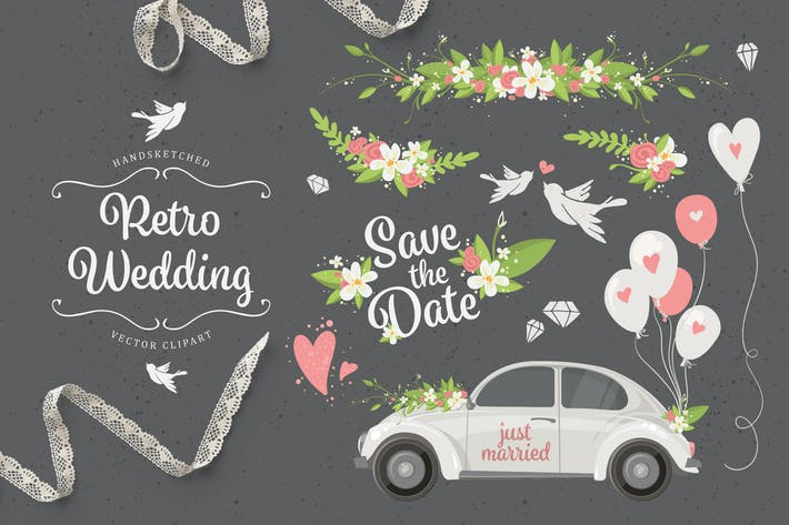 Thumbnail for Retro Wedding. Set of 21 Romantic Elements