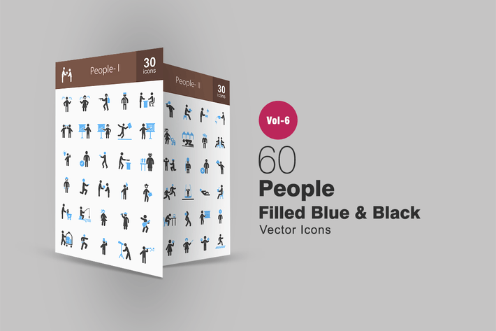 Thumbnail for 60 People Blue & Black Icons