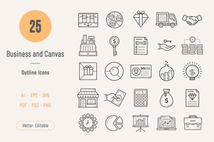 Business and Model Canvas Outline Icons