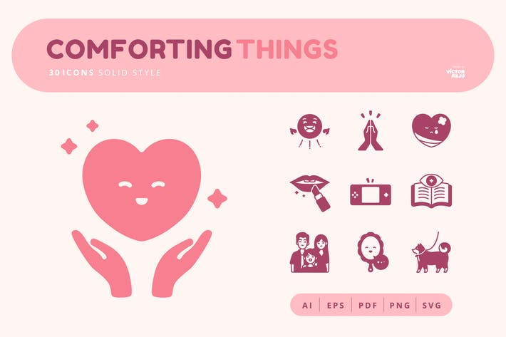30 Icons Comforting Things Solid Style