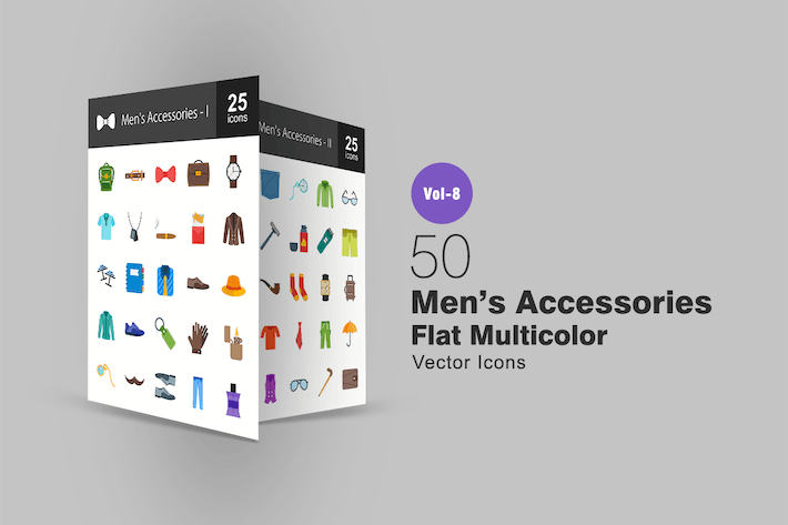 Thumbnail for 50 Men's Accessories Flat Multicolor  Icons