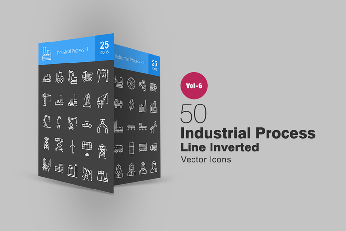 Thumbnail for 50 Industrial Process Line Inverted Icons