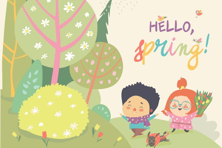 Thumbnail for Cute kids running in spring forest. Hello spring.