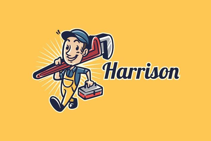 Thumbnail for Retro Vintage Plumber Mascot Character Logo