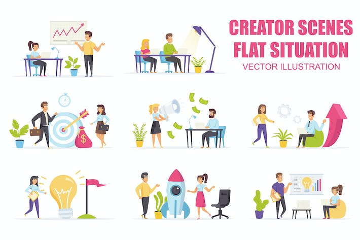 Thumbnail for Collection Startup Company Flat Scene Situation