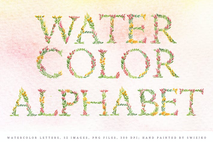 Thumbnail for Floral Watercolor Alphabet