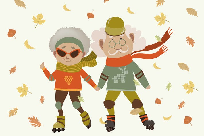 Cartoon active old couple