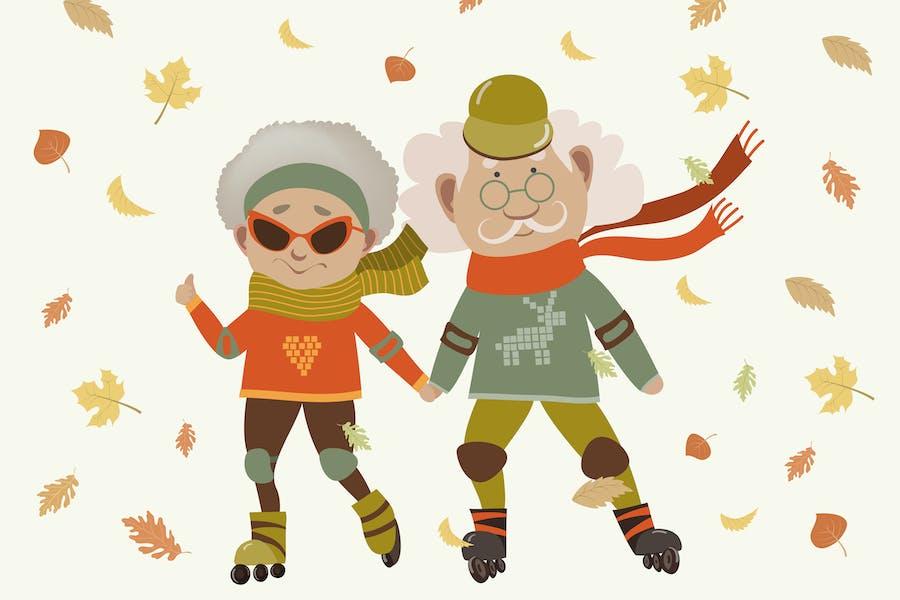 Dibujos animados activo viejo pareja