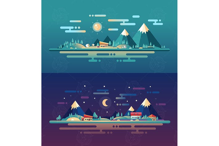 Set of modern flat design conceptual landscapes
