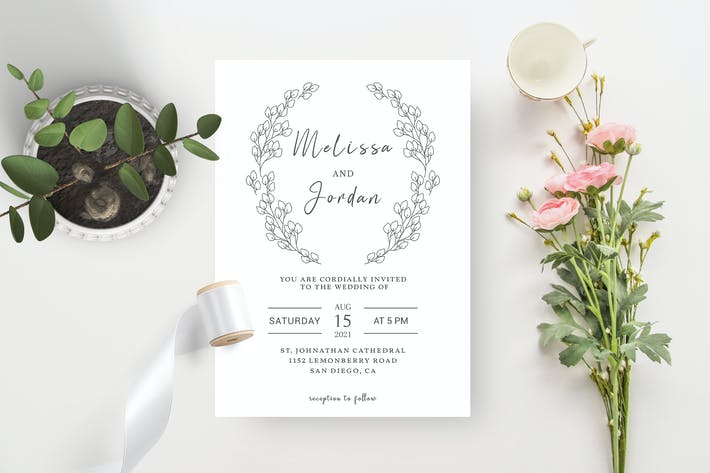 BW Laurel Wedding Invitation Template