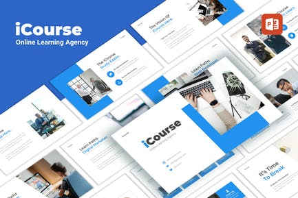 iCourse - Online Learning PowerPoint Template