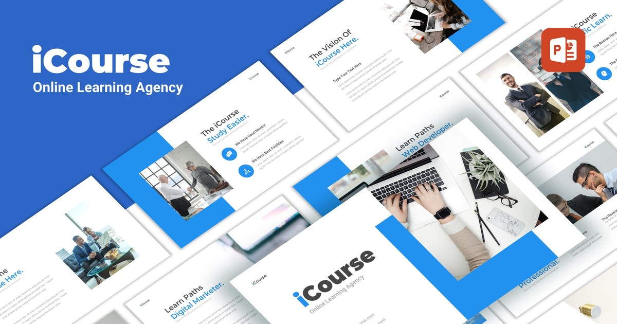 Download iCourse - Online Learning PowerPoint Template by CocoTemplates