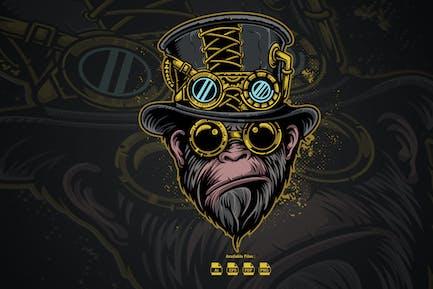 Monkey Steampunk Vector Illustration