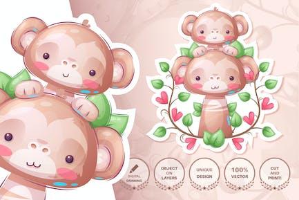 Monkey family - seamless pattern