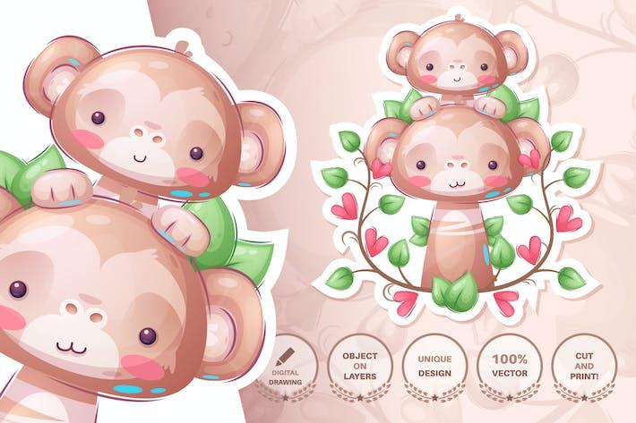 Thumbnail for Monkey family - seamless pattern