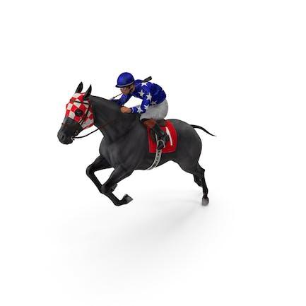 Black Racing Horse with Jokey Jumping