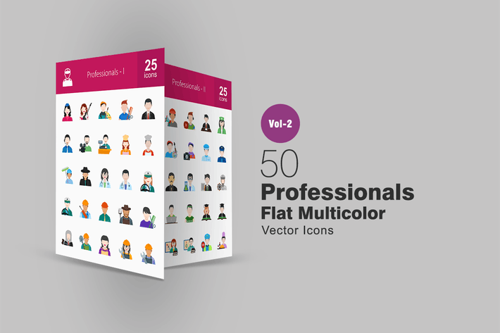 Thumbnail for 50 Professionals Flat Multicolor Icons
