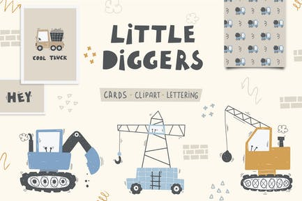 Cute Little Diggers, construction digital clipart