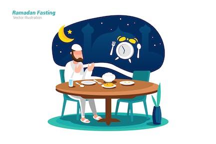 Ramadan Fasting - Vector Illustration