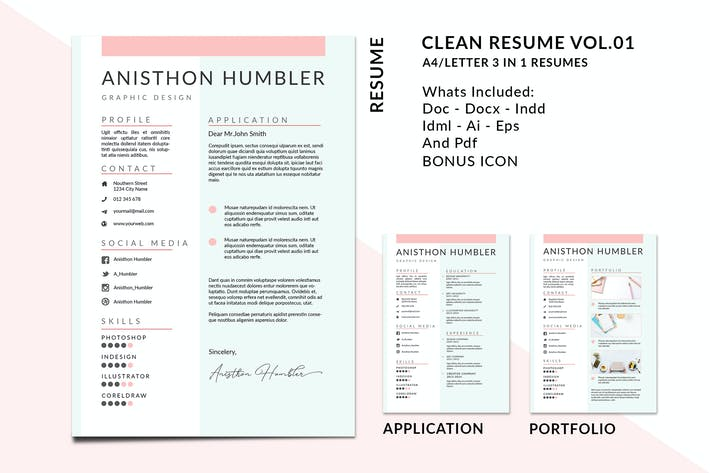 Thumbnail for A4/Letter Clean Resume Templates Vol.01