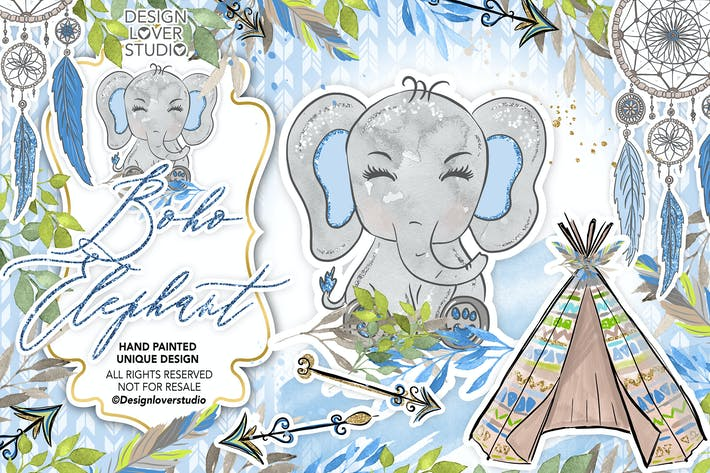Thumbnail for Boho Elephant Blue Cute design