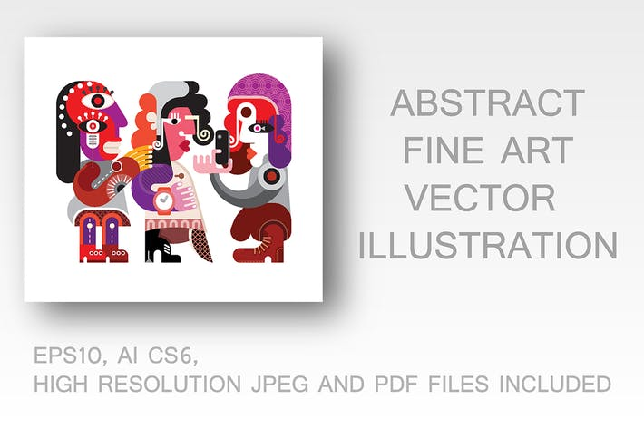 Thumbnail for Three Beautiful Women fine art vector illustration