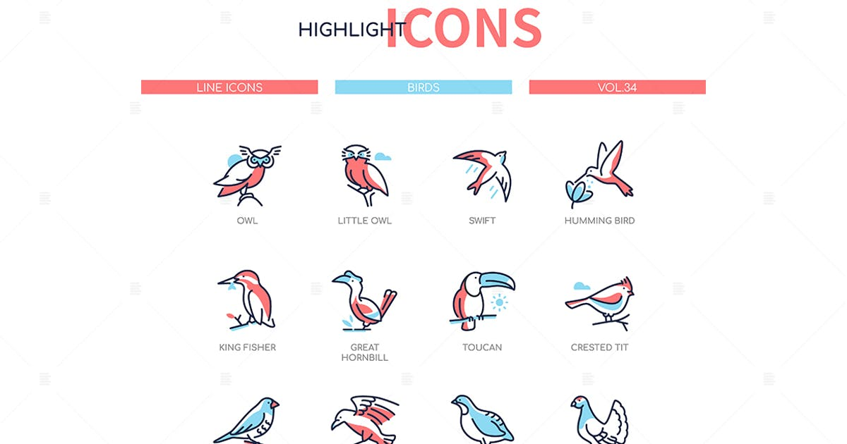 Download Bird species - modern line design style icons set by BoykoPictures