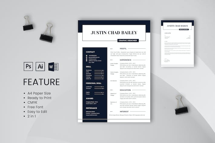 Thumbnail For Professional CV And Resume Template Bailey