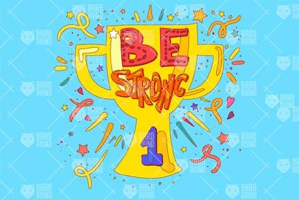 Sieger Cup mit Slogan