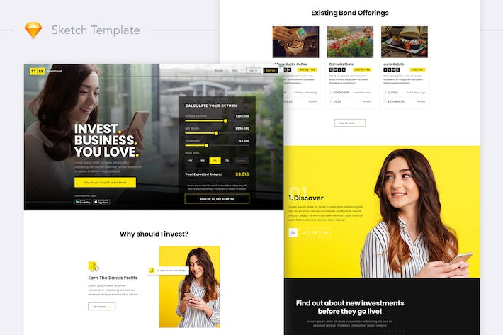 Thumbnail for STBK Investment Website Landing Sketch Template