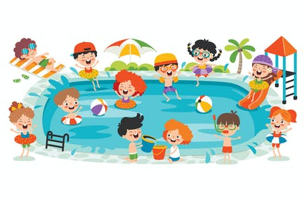 Flat Summer Banner With Cartoon Characters