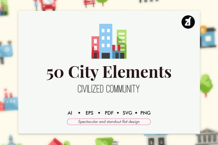 Thumbnail for 50 City elements in flat design