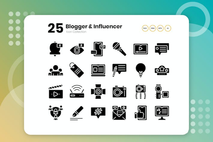 Thumbnail for 25 Blogger- und Influencer-Glyphe-Symbol