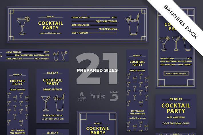 Cocktail Party Banner Pack Template