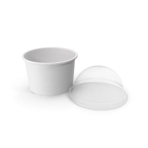 Бумажная пищевая чашка с прозрачной крышкой для десерта 6 унций 150 мл Open